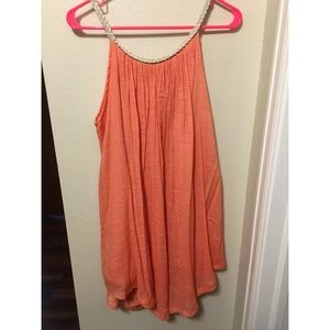 Orange dress with gold collar!